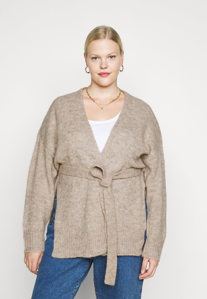 Selected Femme Curve - SLFLISSY SLIT CARDIGAN - Cardigan - sandshell