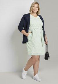 MY TRUE ME TOM TAILOR - EASY SLUB STRIPE DRESS - Day dress - light green white stripe - 1