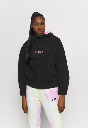 HOODED - Fleece jumper - jet black