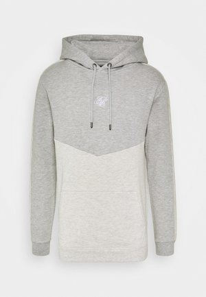 DROP SHOULDER CUT SEW HOODIE - Sweat à capuche - grey marl/snow marl