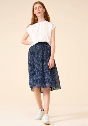 PLISSEE MIT BLUMENMUSTER - A-line skirt - nachtblau