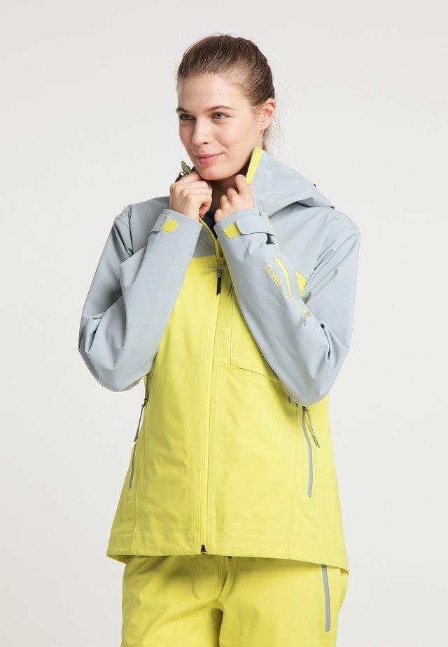 Waterproof jacket - french grey - lemon yellow