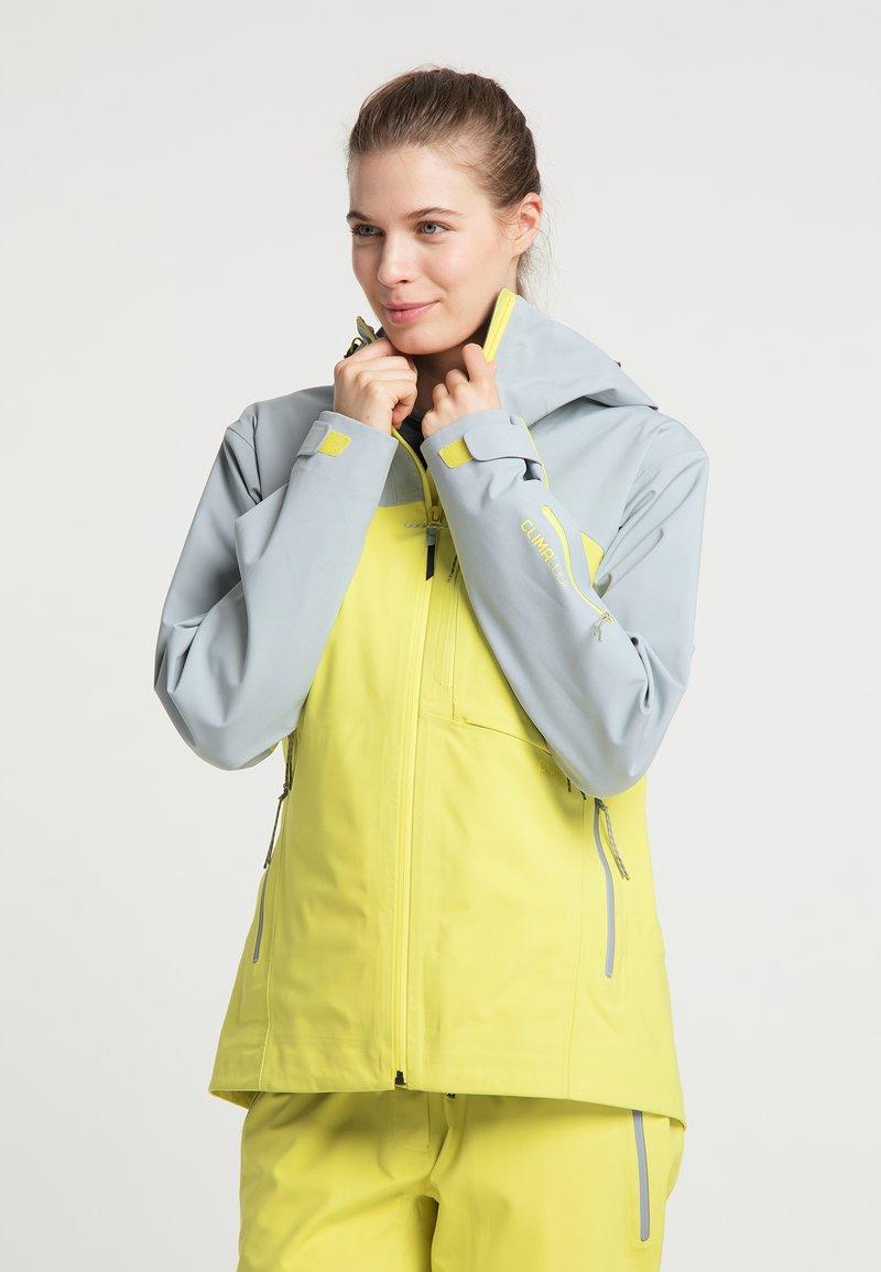 PYUA - Waterproof jacket - french grey - lemon yellow