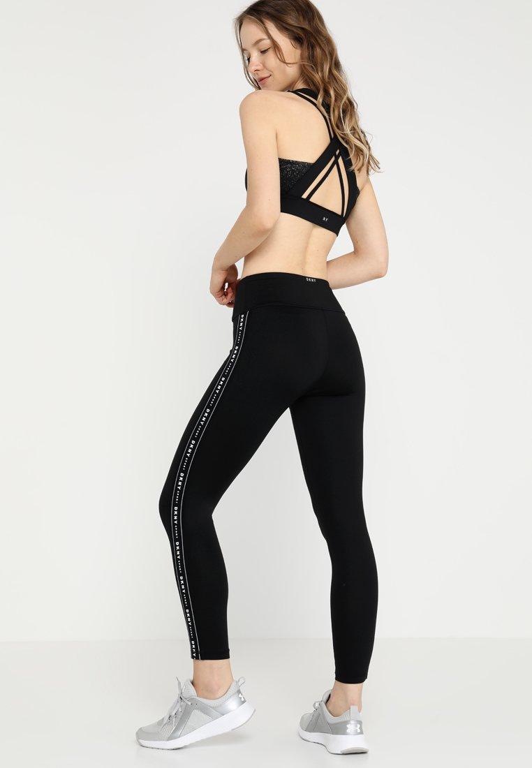 DKNY HIGH WAIST LOGO TAPING - Leggings - black sUBrH