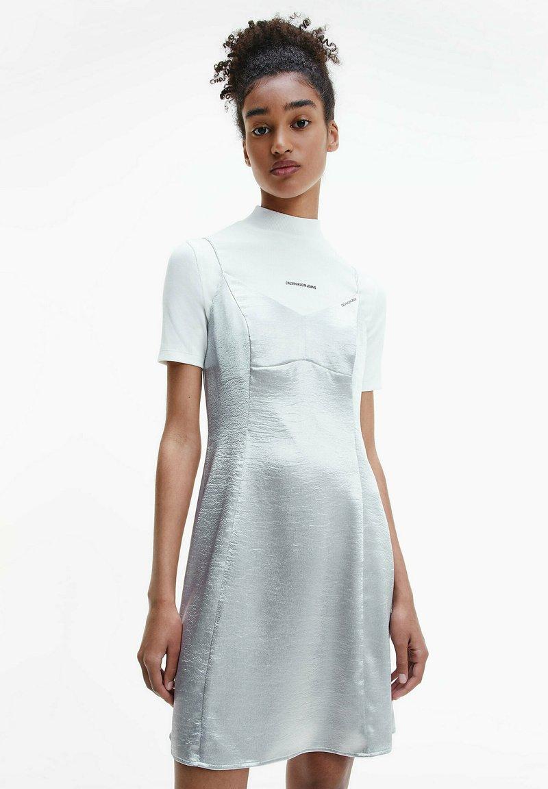 Calvin Klein Jeans - METALLIC SATIN SLIP - Cocktail dress / Party dress - silver