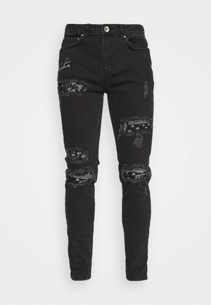 BIKER BANDANA PATCH - Jeans Skinny - black