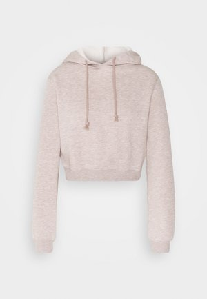 CROPPED HOODIE - Jersey con capucha - nougat mélange