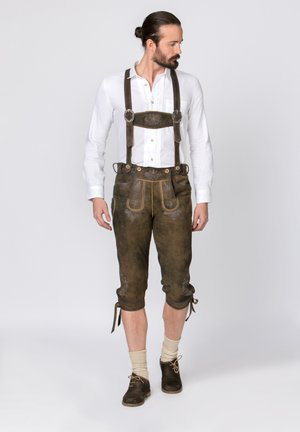 JUSTIN - Leather trousers - bison