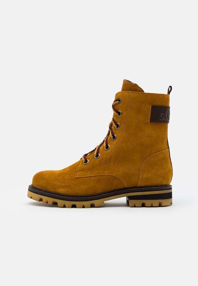 BOOTS - Lace-up ankle boots - mustard