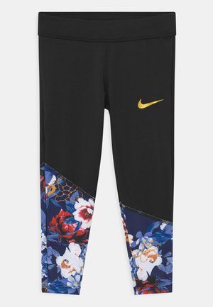GIRLS FLORAL - Leggings - Trousers - black
