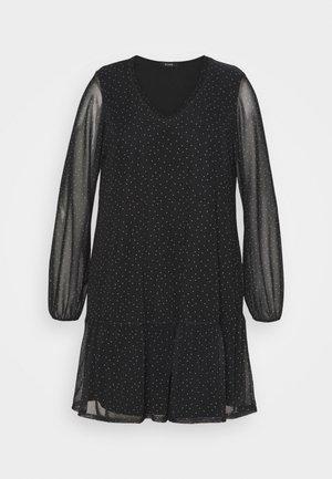 BLACK SPOT TIERED DRESS - Day dress - black