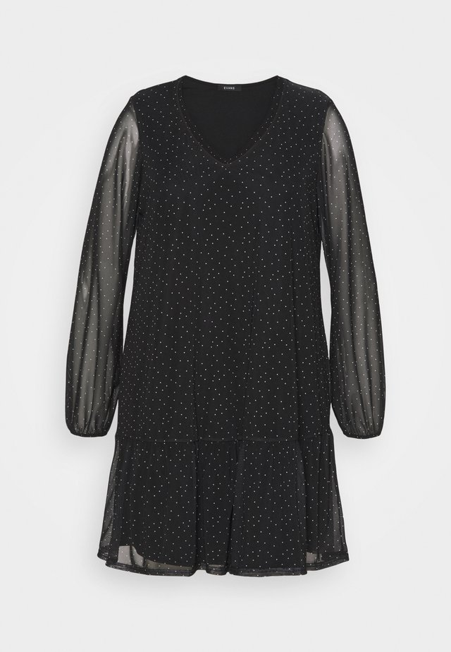 BLACK SPOT TIERED DRESS - Robe d'été - black