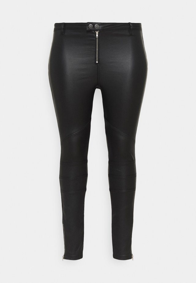 VICE DOUBLE POPPER COATED BIKER - Jeans Skinny Fit - black