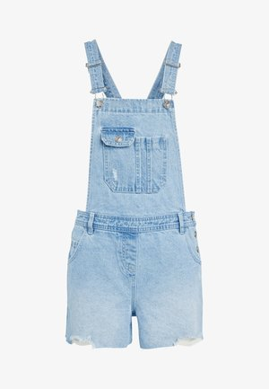 MID BLUE DUNGAREE SHORTS - Dungarees - mottled blue