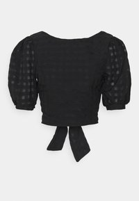 Glamorous - PUFF SLEEVE CROP WITH FRONT TIE - Blouse - black - 0