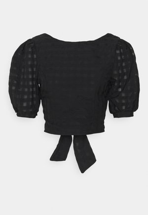 PUFF SLEEVE CROP WITH FRONT TIE - Blouse - black