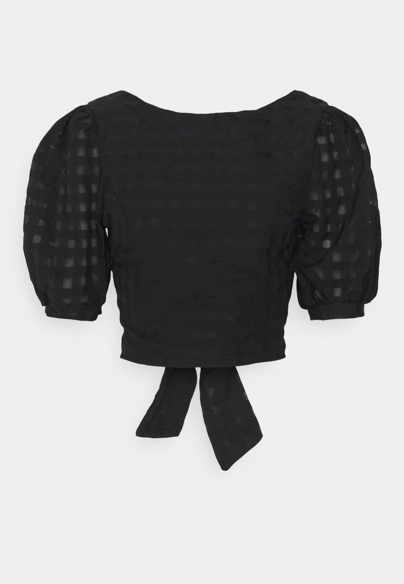 Glamorous - PUFF SLEEVE CROP WITH FRONT TIE - Blouse - black
