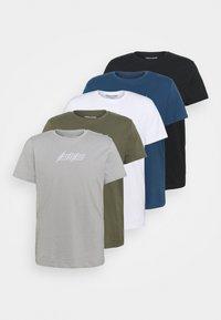 Jack & Jones - JOROMBRE TEE CREW NECK 5 PACK - T-shirt med print - white - 8