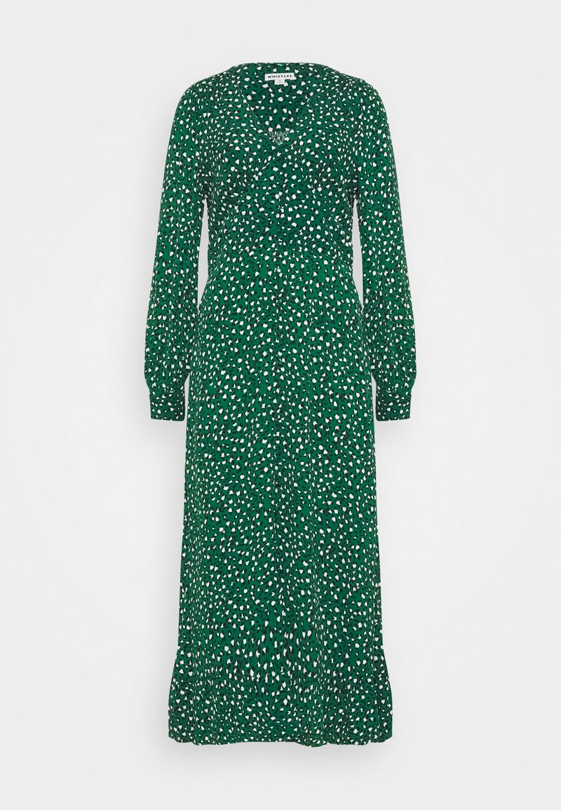 Whistles - LEOPARD MIDI DRESS - Day dress - green