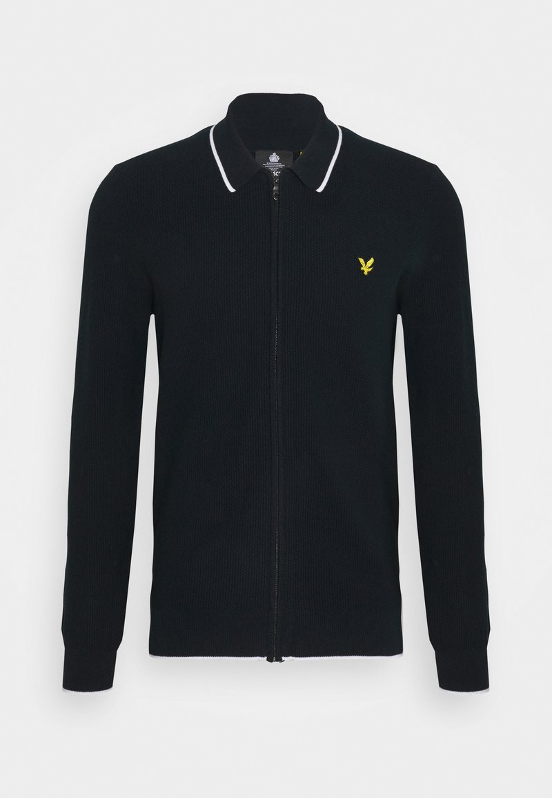 Lyle & Scott - TIPPED ZIP THROUGH - Cardigan - dark navy