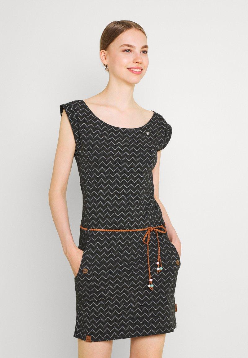 Ragwear - TAG ZIG ZAG - Shift dress - black