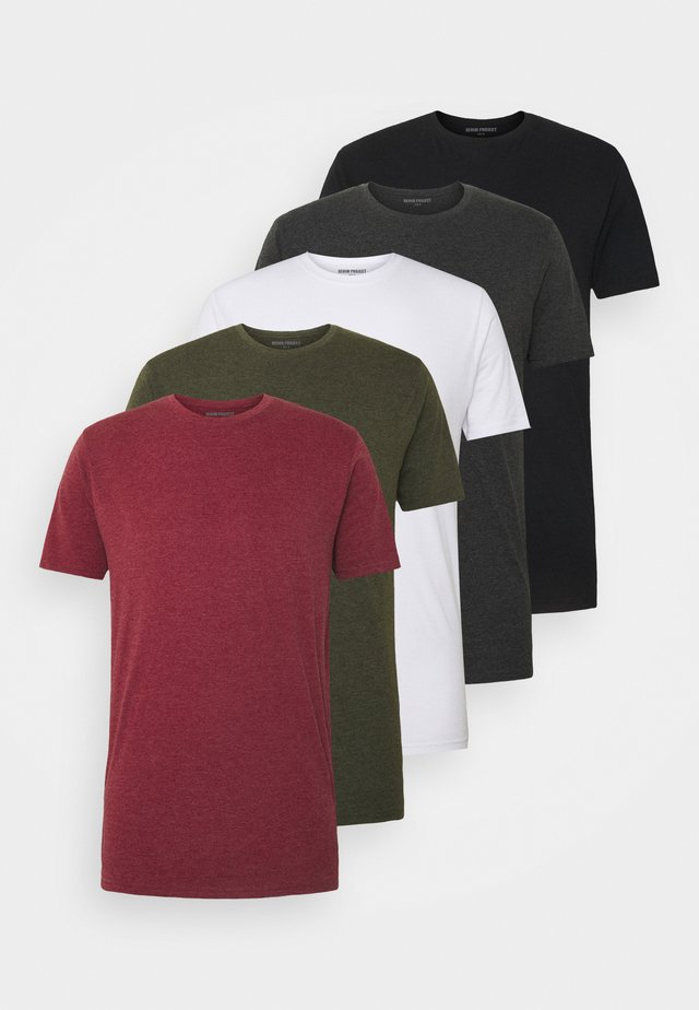 5 PACK  - T-shirt basique - olive night melange/bordeaux melange