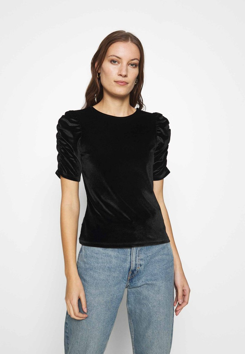 Dorothy Perkins - RUCHE SLEEVE TEE - Basic T-shirt - black