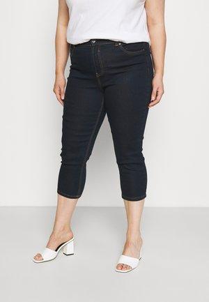 CROP - Denim shorts - indigo
