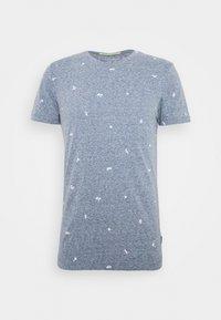 MÉLANGE - Print T-shirt - navy/white