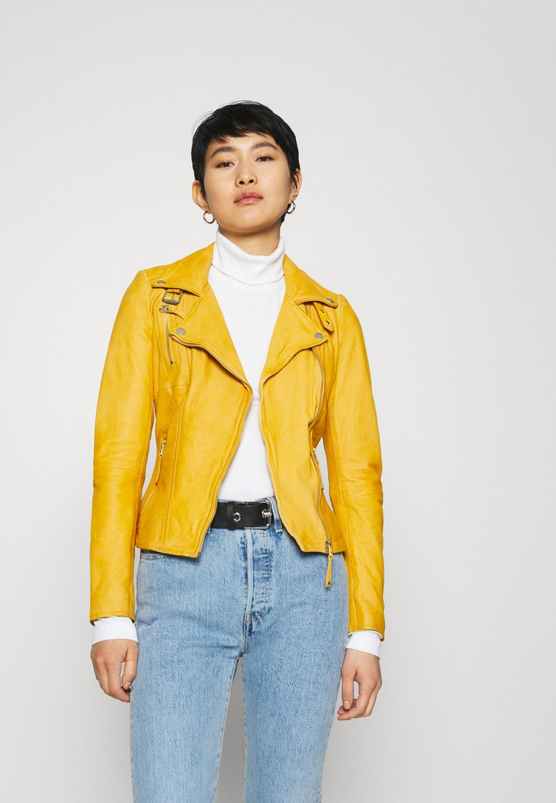 Freaky Nation - BIKER PRINCESS - Leather jacket - halo yellow