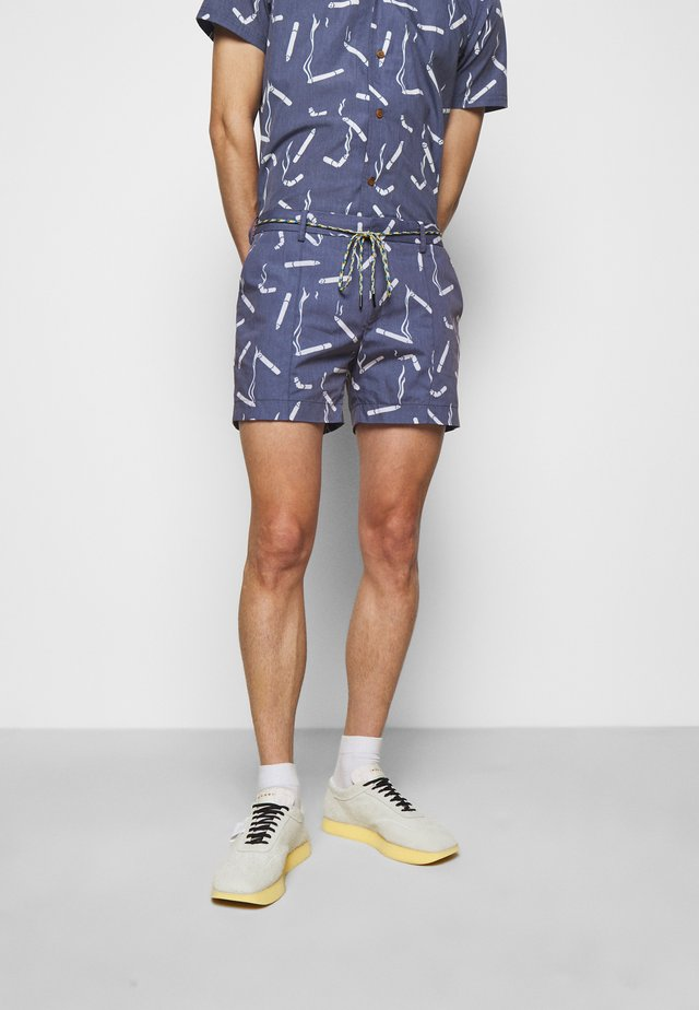 ALLOVER PRINTED SHORTS - Shorts - navy