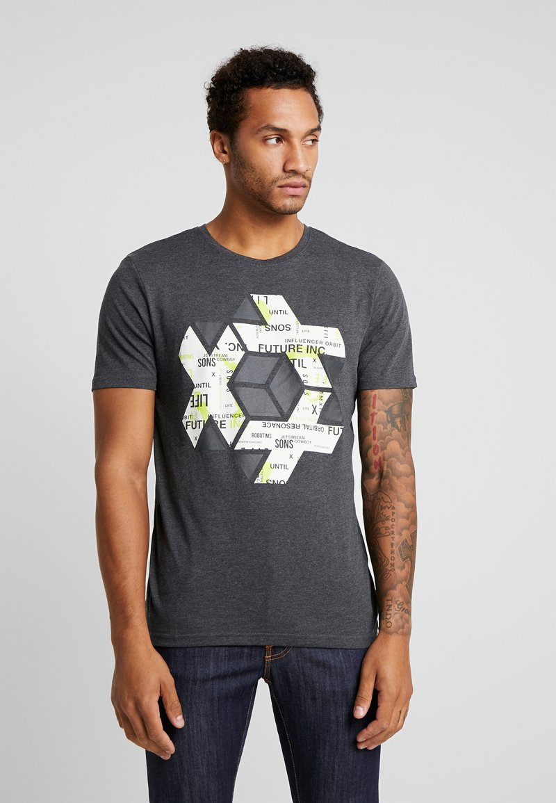 Jack & Jones - ONSABRAHAM FITTED TEE - Print T-shirt - black