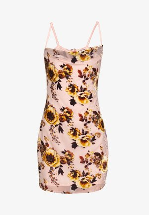 BRIDESMAID DEVORÉ FLORAL COWL NECK MINI DRESS - Vestito estivo - pink