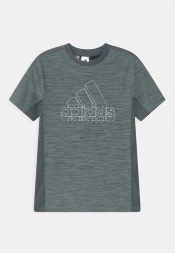 Print T-shirt - dark green/white