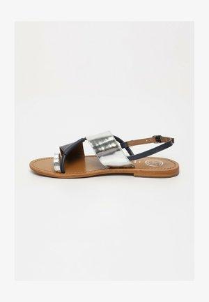 PASEIO  - T-bar sandals - navy silver