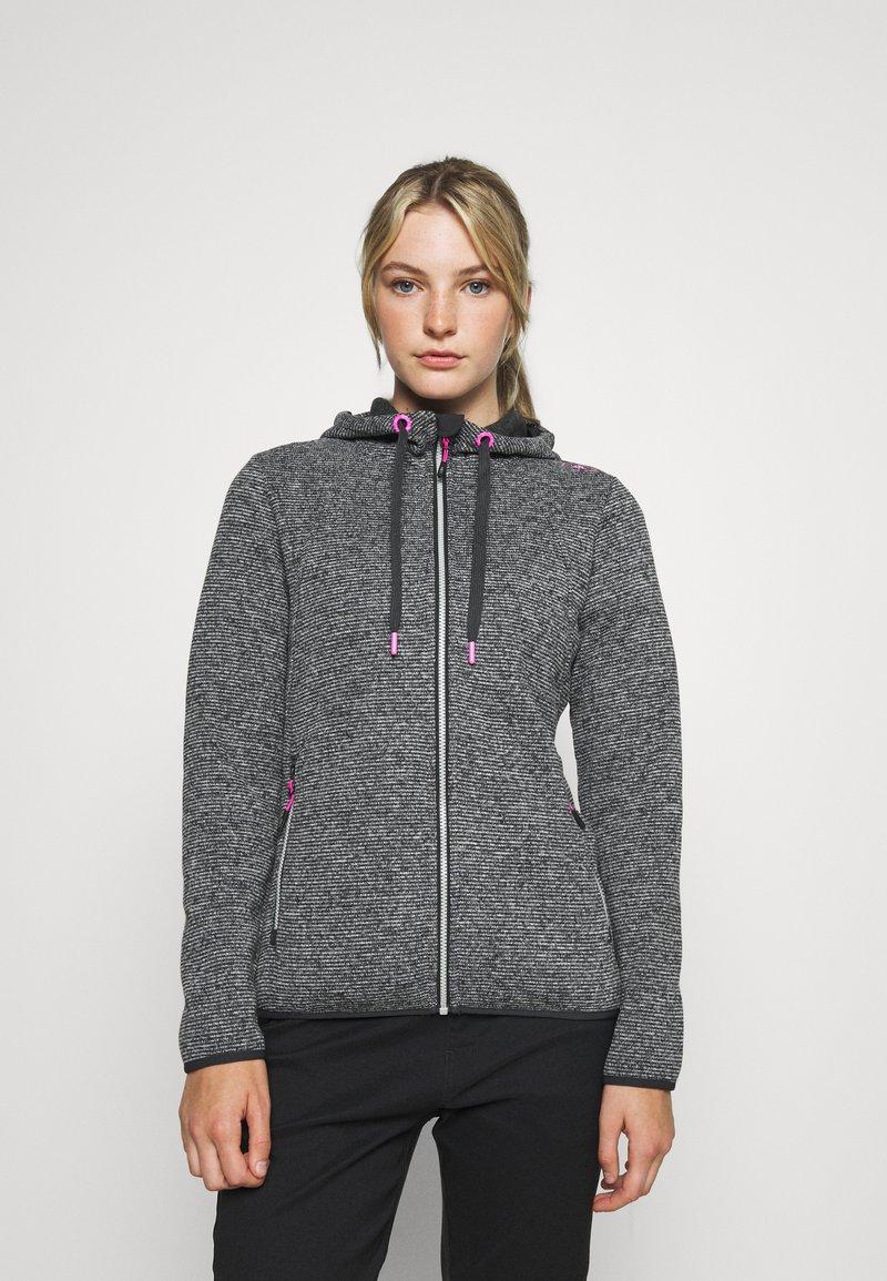 Campagnolo - WOMAN JACKET FIX HOOD - Fleece jacket - ghiaccio/graffite/nero