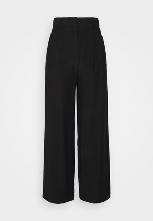 Basic wide leg pants - Trousers - black