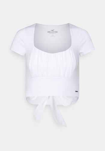 CROP RUCHED BUST BACK TIE - Print T-shirt - white