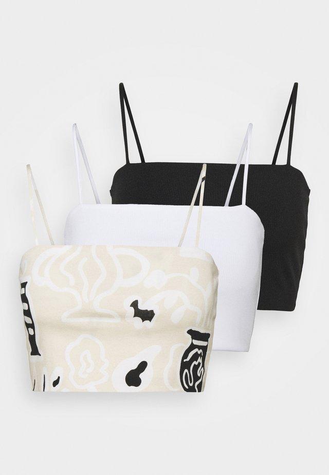 ALICE CROP SINGLET 3 PACK - Top - beige/black/white