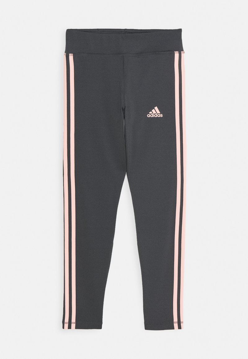 adidas Performance - TRAINING EQUIPMENT 3 STREIFEN - Leggings - grey six/coral