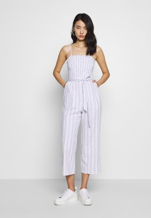 SMOCKED BODICE - Jumpsuit - white/blue