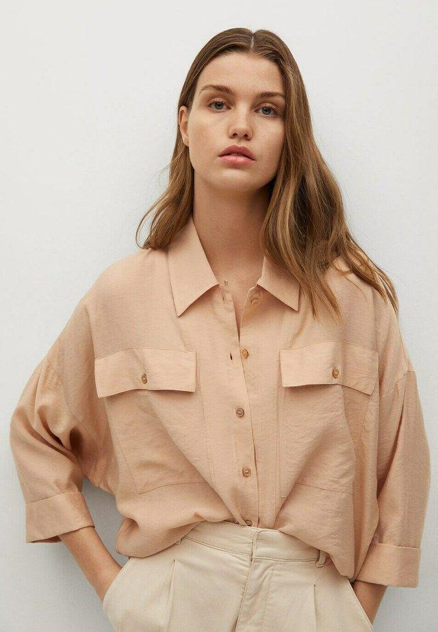 Button-down blouse - pastelowy róż