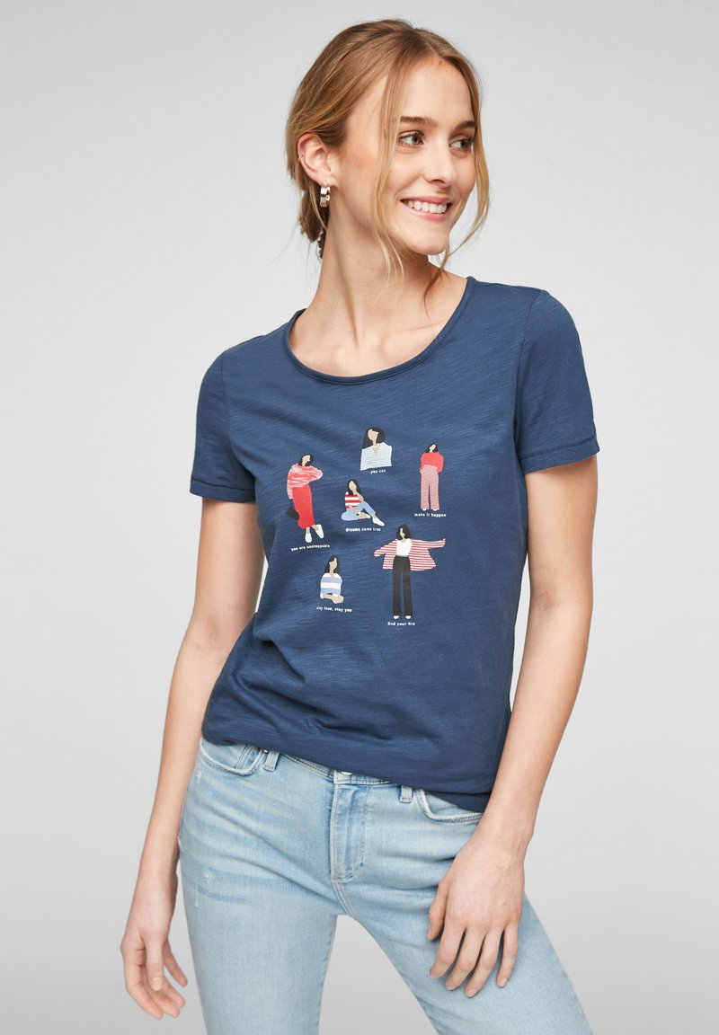 s.Oliver - Print T-shirt - blue placed print