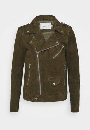RIVER - Leather jacket - gobi