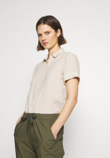 BLOUSE SHORT SLEEVED BUTTON THROUGH STYLE - Button-down blouse - beige
