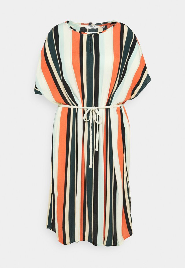 DRESS KEYHOLE NECKLINE BELTED - Korte jurk - multicolor sahara