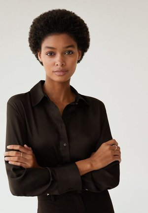 SATINI - Button-down blouse - schwarz