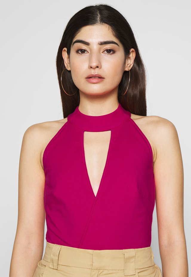 HALTER NECK WRAP DETAIL BODY - Top - pink