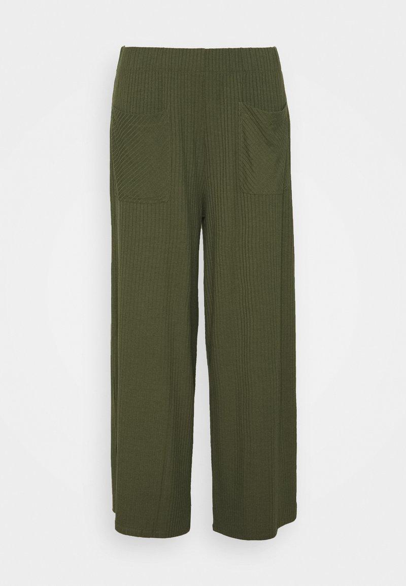 Simply Be - WIDE LEG TROUSER - Spodnie materiałowe - khaki