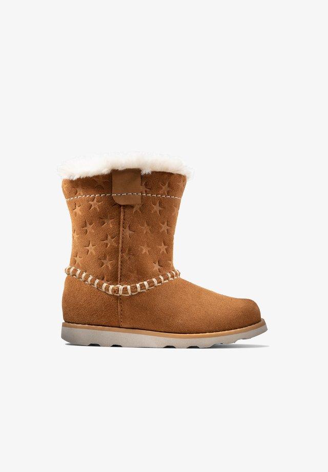 Winter boots - hellbraunes veloursleder